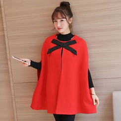 Colorful Shop - Bow-Accent Cape Coat