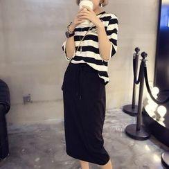 MayFair - Set: Stripe Short-Sleeve T-Shirt + Midi Skirt