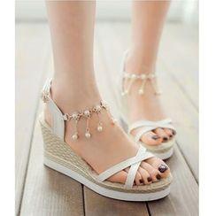Freesia - Rhinestone Strap Wedge Sandals