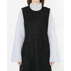 Someday, if - Mock-Neck Kimono-Sleeve Organza Top