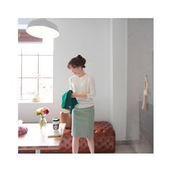 LEELIN - Band-Waist Button-Front Skirt