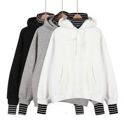 Momewear - Long-Sleeve Striped Trim Hooded Top