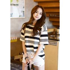 DEEPNY - Striped Textured T-Shirt