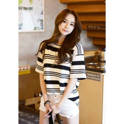 DEEPNY - Round-Neck Striped T-Shirt