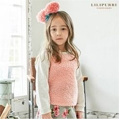 LILIPURRI - Kids Raglan-Sleeve Fleece-Panel Top