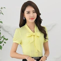 Caroe - Short-Sleeve Tie Neck Blouse