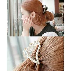 Miss21 Korea - Faux-Pearl Trim Heart Hair Claw