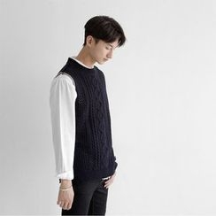 Seoul Homme - Sleeveless Cable-Knit Top