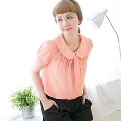 CatWorld - Tie-Neck Frilled Chiffon Blouse
