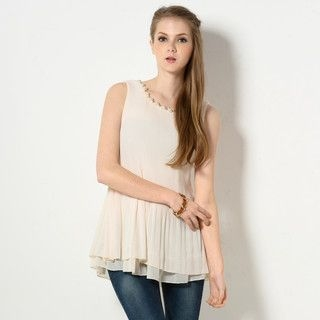YesStyle Z - Beaded Neckline Pleated Sleeveless Top