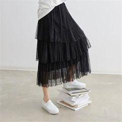 PEPER - Layered Lace Maxi Skirt