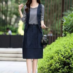 NINETTE - Set: Striped Top + Vest + Skirt
