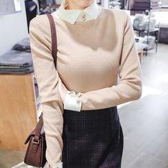 mimi&didi - Inset Shirt Wool Blend Knit Top