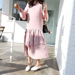 MARSHMALLOW - Maternity Bell-Sleeve Ruffled-Hem Maxi Dress