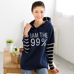 59 Seconds - Inset Striped T-Shirt Lettering Hooded Pullover