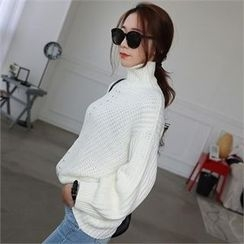 CHICFOX - Turtle-Neck Pointelle-Knit Sweater