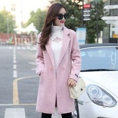AiSun - Plain Notch Lapel Long Coat