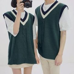 Seoul Homme - Couple Striped V-Neck Knit Vest