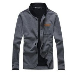 MR.ZERO - Mandarin-Collar Faux-Leather Trim Jacket