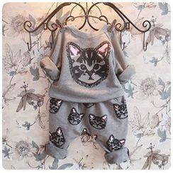 Rakkaus - Set: Kids Cat-Print Top + Pants