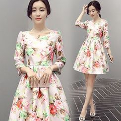 lilygirl - Floral Print 3/4 Sleeve A-Line Dress