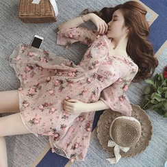 Munai - Ruffled Floral A-Line Dress