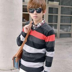 SeventyAge - Striped V-Neck Knit Sweater