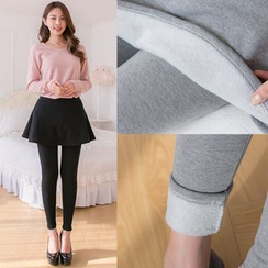 the ebbm - Inset Skirt Brushed-Fleece Leggings