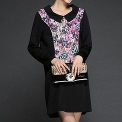 Mythmax - Long-Sleeve Paneled Printed Dress