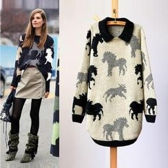 Tulander - Horse Print Long Sweater