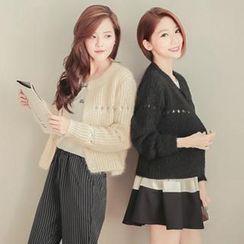 東京著衣 - 鏤空針織開襟衫
