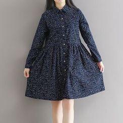 Queen Bee - 印花長袖襯衫裙