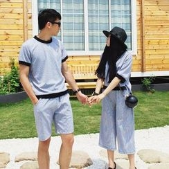 AJIEJIA - Couple Matching Set: Tipped Short Sleeve T-Shirt + Dotted Shorts / Culottes