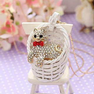 Miss Girl - Rhinestone Cat in Basket Necklace