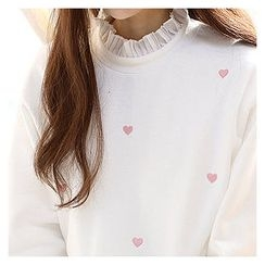 Sechuna - Frilled-Neck Heart-Embroidered Top
