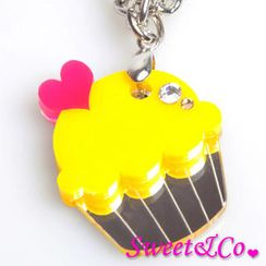 Sweet & Co. - Sweet&Co Mini Yellow Cupcake Crystal Silver Necklace