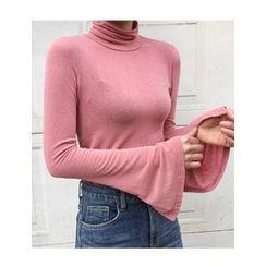 FROMBEGINNING - Turtle-Neck Slit-Sleeve T-Shirt