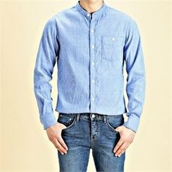 THE COVER - Mandarin-Collar Pinstriped Shirt