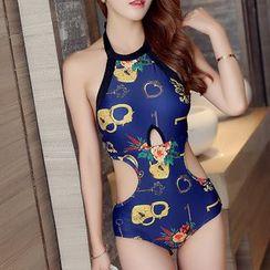 Dolfin - Set: Printed Swimsuit + Swim Skirt