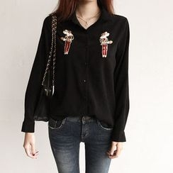NIPONJJUYA - Sequined Rabbit-Appliqué Blouse