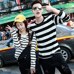Evolu Fashion - Couple Matching Stripe Long-Sleeve T-shirt