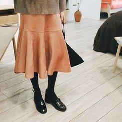 mimi&didi - Ruffle-Hem Faux-Suede Long Skirt