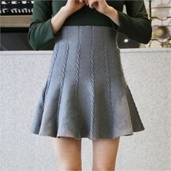 QNIGIRLS - Cable-Knit A-Line Mini Skirt