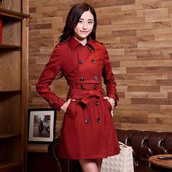 Romantica - Double-Breasted Tie-Waist Trench Coat