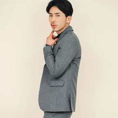 MEOSIDDA - Notched-Lapel Single-Breasted Check Jacket