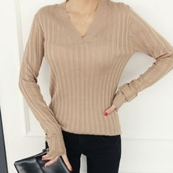 DANI LOVE - V-Neck Rib-Knit Top
