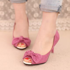 IYATO - Peep-Toe Bowed Kitten-Heel Pumps