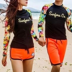 DJ Design - Couple Matching Set: Printed Raglan Sleeve Rashguard + Swim Shorts