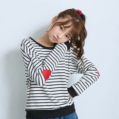 BAIMOMO - Long-Sleeve Embroidered Striped Top