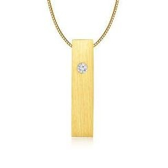 MBLife.com - Left Right Accessory - 9K/375 Yellow Gold Satin Finish Rectangular Cube Diamond Necklace 16' (0.006 ct)